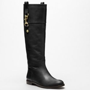 Coach Knee High Boots Black Gold Martta Leather